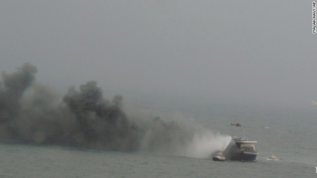 Smoke billows from the ferry. It was heading from Igoumenitsa, Greece, to Ancona, Italy.