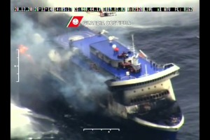 Ferry catches fire between Greece, Italy