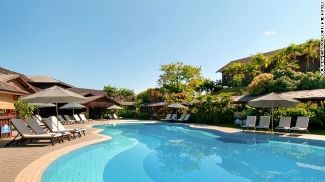 The Hilton's pool makes a pleasant alternative to the leech-infested waters of the Batang Ai River and Reservoir.