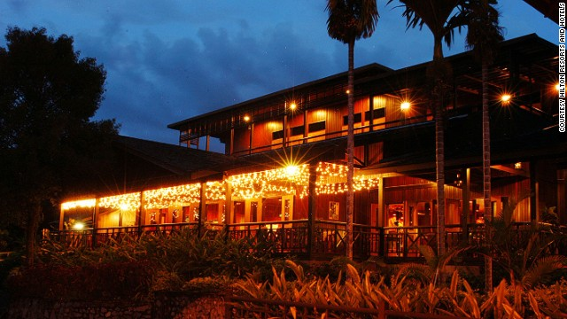 The Hilton Batang Ai Longhouse Resort is a luxury hotel in the heart of Borneo's steamy jungle.