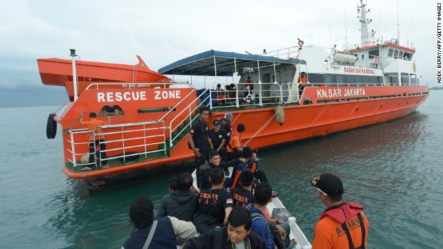 An Indonesian search and rescue team prepares to search at sea on December 30 for the missing AirAsia Flight QZ8501 from Manggar on East Belitung.