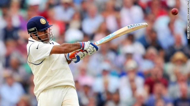MS Dhoni in a typically combative mood against England during the fifth Test match at The Oval in August 2014. Dhoni has announced he is retiring from Test cricket to concentrate on the shorter forms of the game.