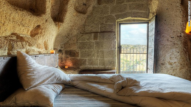 Grotte della Civita in Matera is a resort created from caves that were a refuge for monks, nuns and hermits fleeing persecution in the Middle Ages