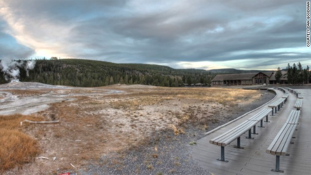 Benches in <a href='http://ireport.cnn.com/docs/DOC-1049546'>Yellowstone National Park</a> provide a good vantage point for watching the Old Faithful Geyser during its frequent eruptions. The geyser was the first to be named in the park.