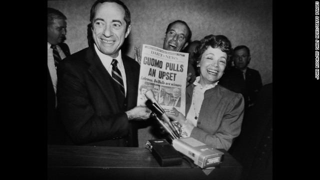 Cuomo and his wife, Matilda, celebrate his upset victory over Koch in the Democratic gubernatorial primary in 1982. Koch, who had been leading in most polls right up to election eve, immediately pledged his support to Cuomo as he faced shocked supporters.