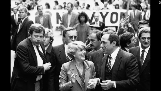 Democratic vice presidential candidate Geraldine Ferraro and New York Gov. Mario Cuomo march in New York's Columbus Day parade on October 9, 1984.