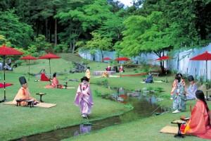 Lectura de poesía en el templo Motsu-ji (Hiraizumi)