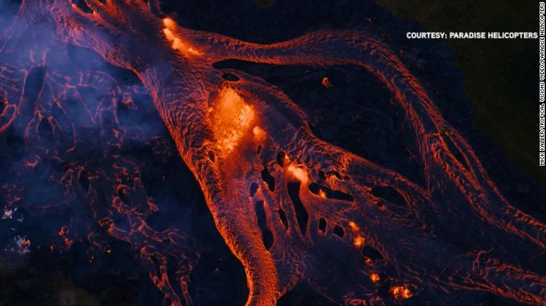 Aerials show lava river in Hawaii