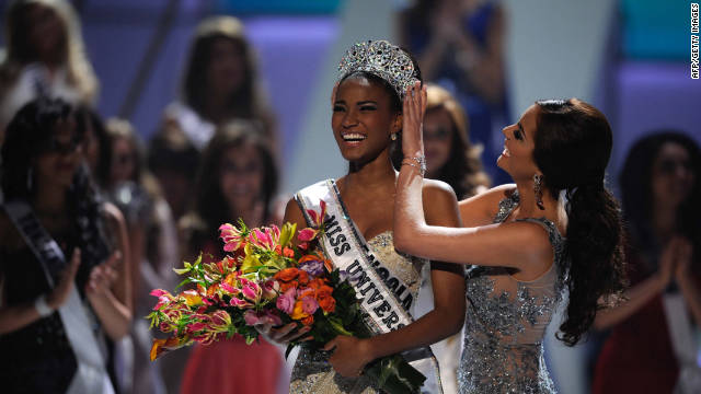 Miss Angola 2011, Leila Lopes, takes the crown Monday night as Miss Universe from last year's winner,  Miss Mexico.