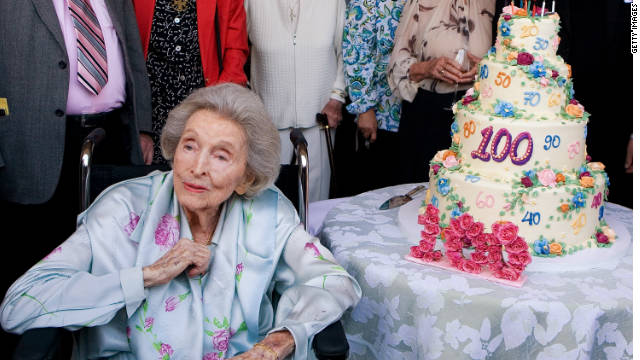 Dolores Hope poses with her 100th birthday cake at her 'Ten Decades Of Life' party on May 27, 2009, in Toluca Lake, California.