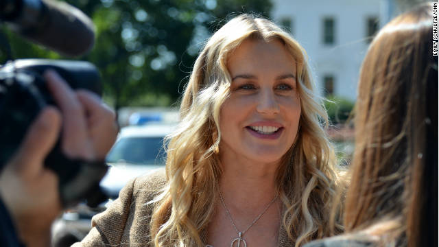 Actress Daryl Hannah joins protesters outside the White House in August, to rally against the Keystone XL pipeline.