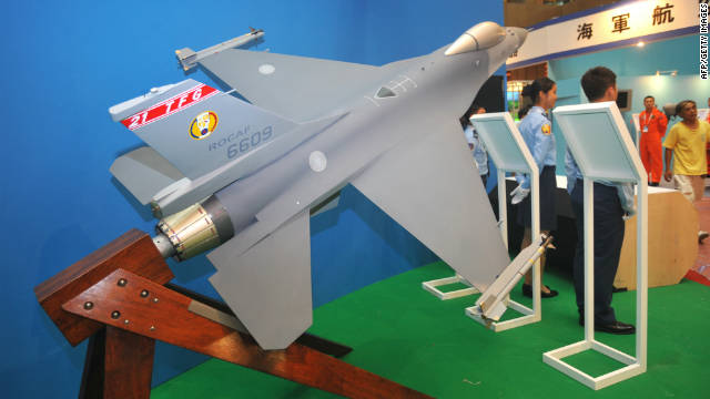 A model of a US-made F-16 fighter jet is displayed at the Taipei World Trade Centre at the opening of the Taipei Aerospace and Defence Technology Exhibition on August 10.
