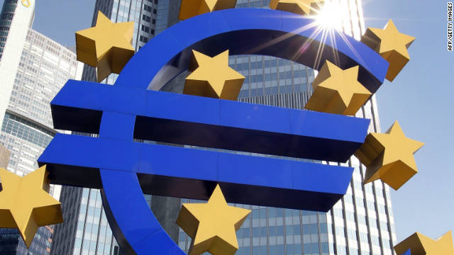The Euro logo stands in front of the European Central Bank (ECB) in Germany.