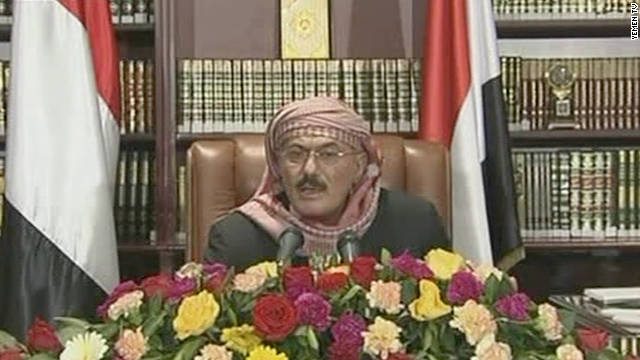 Yemeni President Ali Abdullah Saleh makes a televised address to his nation on Sunday.