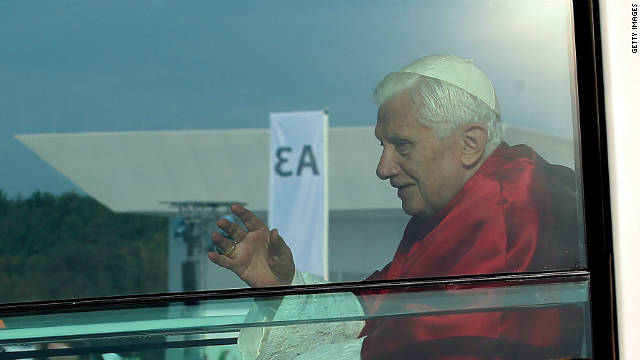 Pope Benedict XVI arrives with his popemobil for the Sunday mass at Freiburg airfiled.