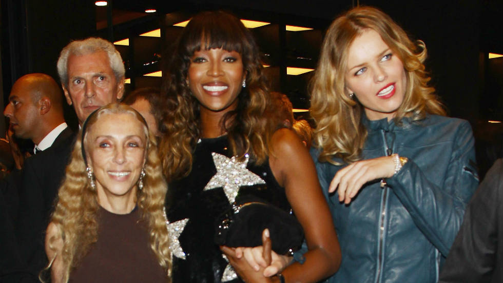 Franca Sozzani, Naomi Campbell and Eva Herzigova attend the Pirelli Corso Venezia flagship store opening during Milan fashion week.