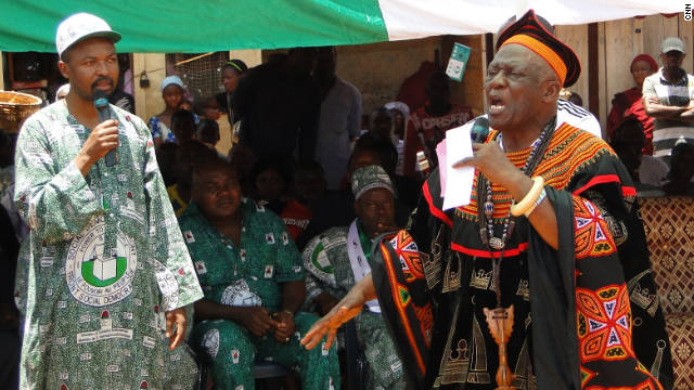 John Fru Ndi rallies supporters in Bamenda, Cameroon on Sunday, September 25.