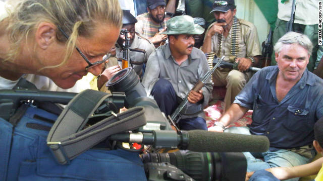 CNN's Ben Wedeman, right,  and CNN photojournalist Mary Rogers during an interview in Sabha, Libya, in September.