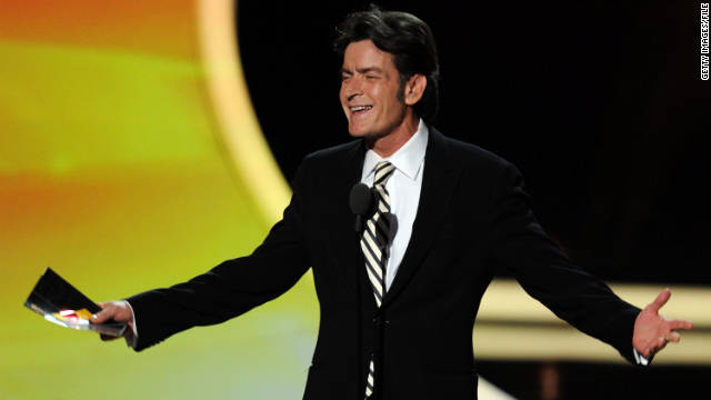 "Charlie Sheen speaks at the Emmy Awards on September 18. He wished the cast of ""Two and a Half Men"" the best."