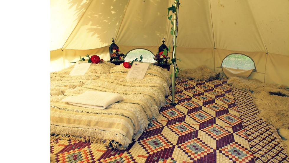 Casa de Laila's Moroccan-themed tents offer comfort at an affordable price.