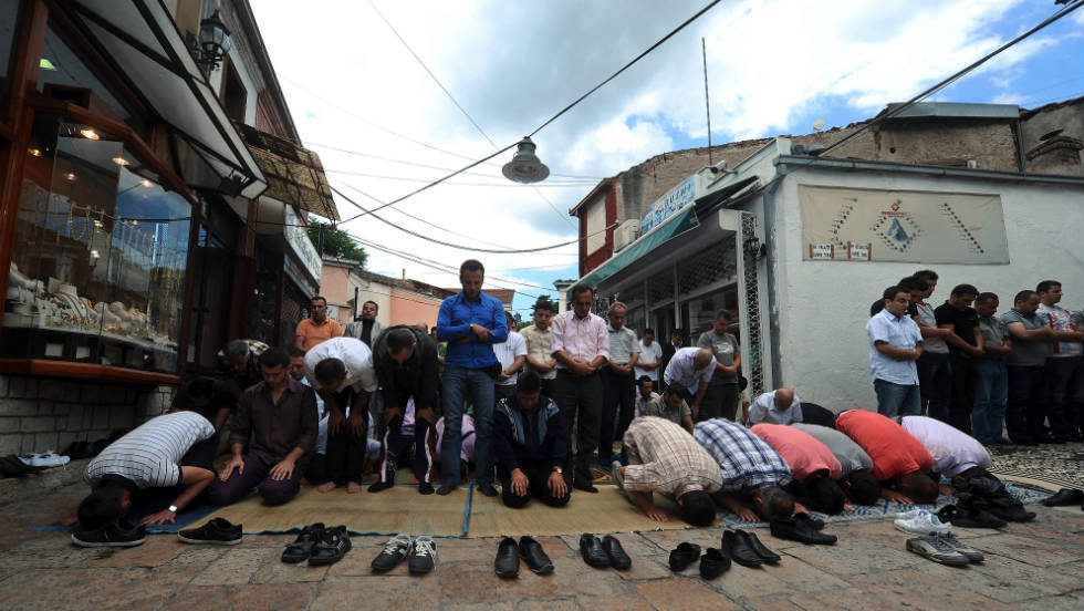Muslim craftsmen perform their prayers in an alley in the Old Bazaar in Skopje. Accordinng to the CIA World Factbook a third of Macedonia's population are Muslim.