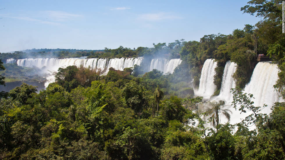 "Aldridge Murrell snapped this shot of Iguazu's seemingly endless waterfalls, of which there are 200. ""There are catwalks on multiple levels to view falls up very close. You can also take a boat ride that is guaranteed to get you wet."""