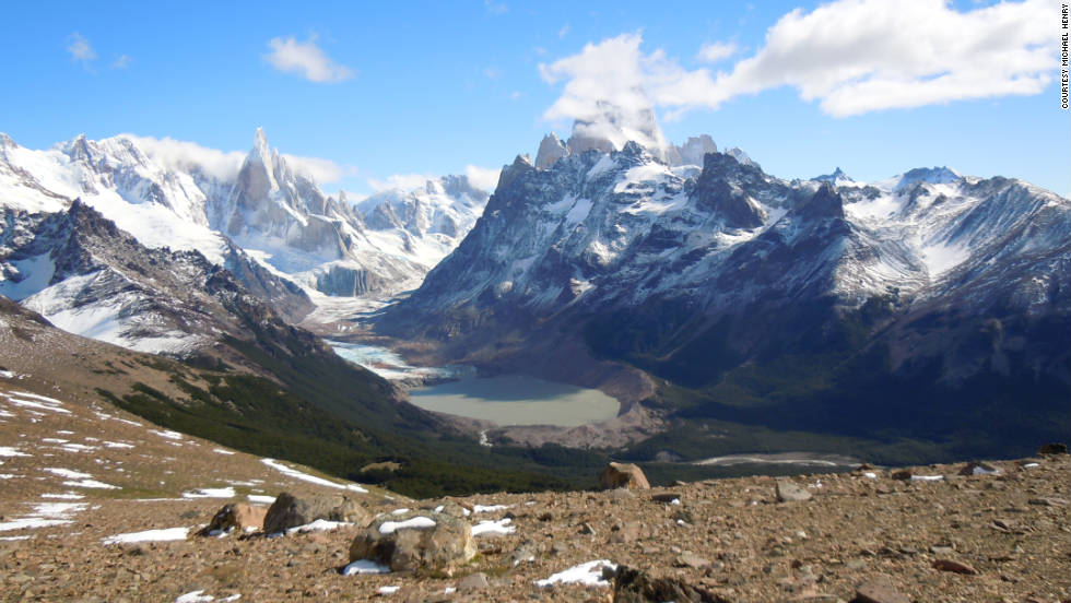 "Michael Henry shared this view of Cerro Torre, Mt. Fitz Roy and Torre glacier from Pliegue Tumbado.  ""It's one of the world's finest views."""
