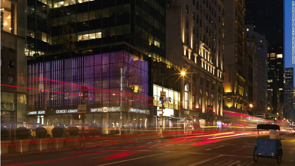 The shiny exterior of Armani store on New York's 5th Avenue. It was designed by Doriana & Massimiliano Fuksas.