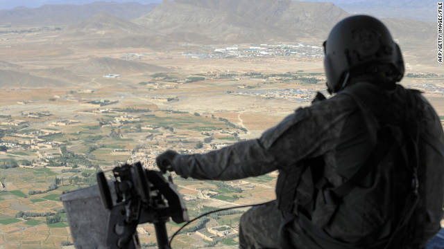 A U.S. military helicopter flies over the Paktiya province of Afghanistan in July.