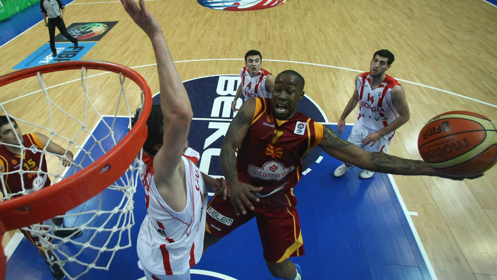 Bo McCalebb aka 'Borche McCalebbovski' dunks for Macedonia againt Georgia at EuroBasket in September