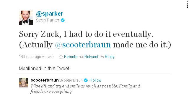 Former Facebook president Sean Parker offered an apology to Mark Zuckerberg in his first post on Twitter.