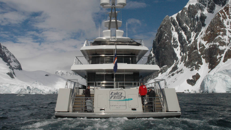 """Big Fish's"" captain can steer her through Arctic waters, guided by the yacht's navigation system and local pilots and guides."