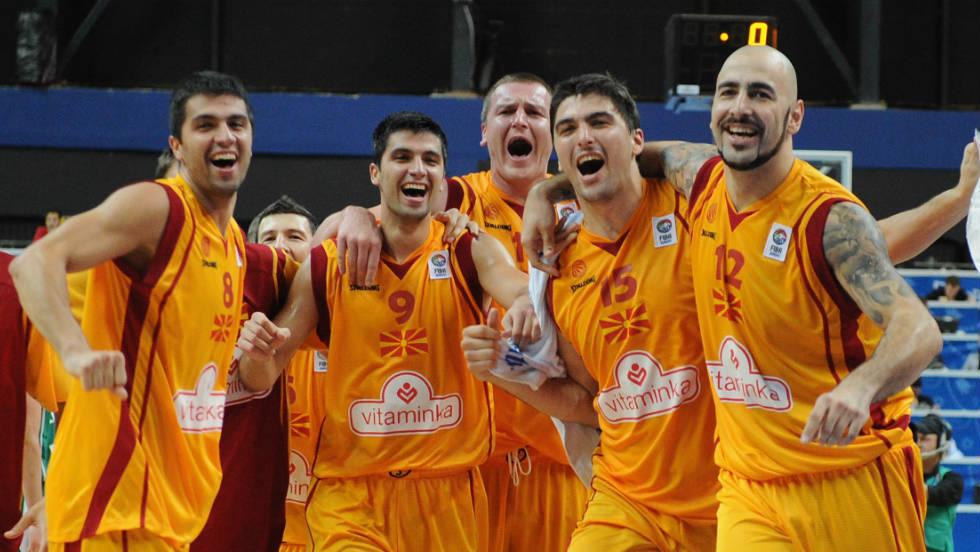 Mcedonia's basketball team celebrate a win over Slovenia in the EuroBasket champioinship