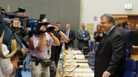 Greek Finance Minister Evangelos Venizelos arrives for a Eurogroup council meeting on October 03, 2011 after announcing his country would miss its deficit targets