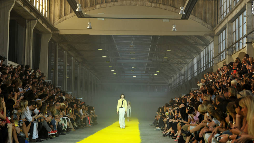 A model walks the runway during the Sonia Rykiel Ready-to-Wear Spring/Summer 2012 show at the stylish Halle Freyssinet venue.
