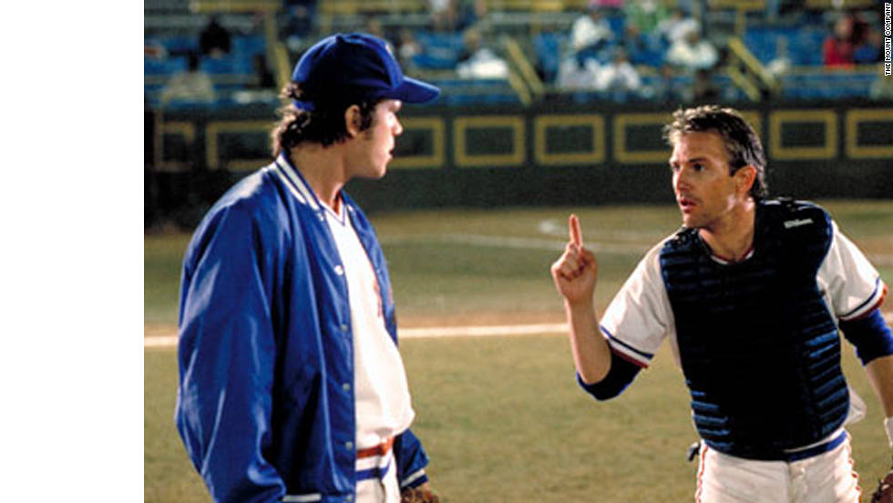 "In ""Bull Durham,"" minor-league catcher Crash (Kevin Costner) shows rookie pitcher Nuke (Tim Robbins) the ropes."