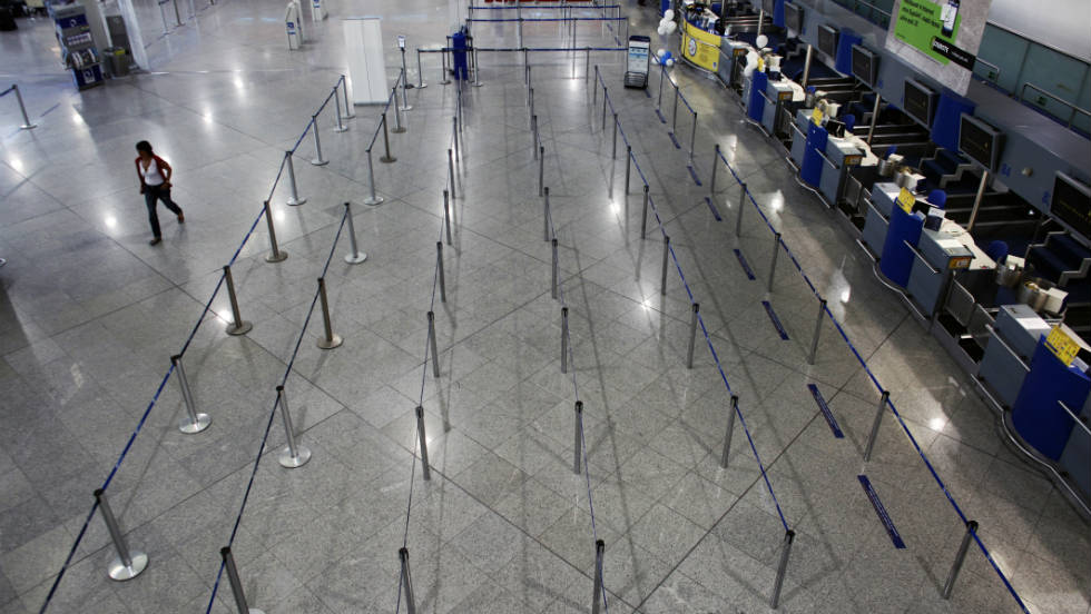 The 24-hour general strike leaves Athens International Airport looking deserted Wednesday.