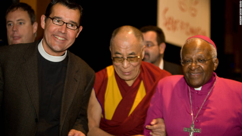 "Rev. Robert Taylor remembers hosting a talk for Tutu and the Dalai Lama on the subject of compassion last year. He recalls how the two friends joked with each other and the audience. ""His Holiness was poking Tutu and said, 'You've got fat! You've put on weight!' With that they both collapsed into peals of laughter."""