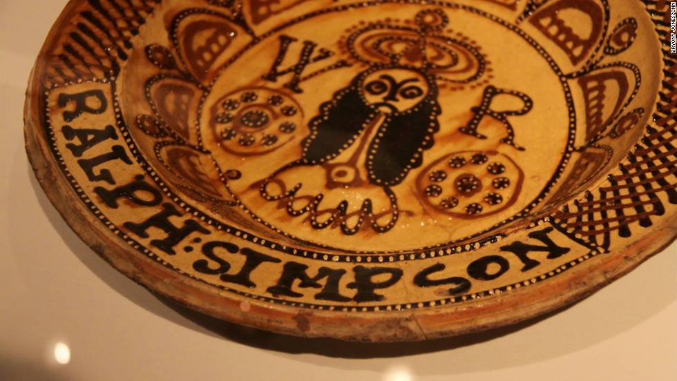 He picked out dozens of objects which inspired and interested him -- such as this 17th century slipware dish.