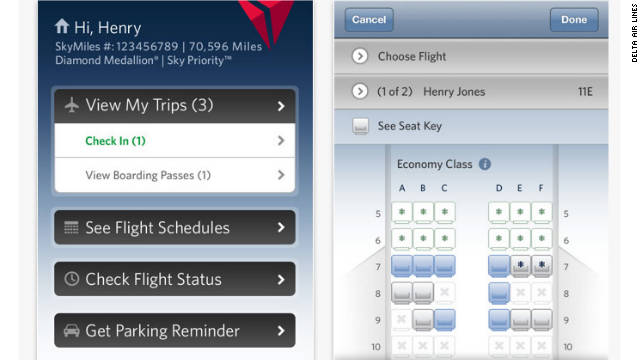 Delta Air Lines' app allows passengers to rebook in the event of a delayed or canceled flight.
