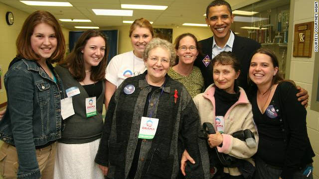 Courtney Hight, right, campaigned for President Obama in 2007, before she joined the White House Council on Environmental Quality.