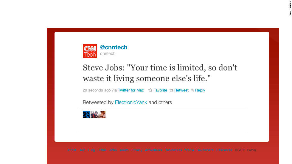 Perhaps it's natural that Twitter, a place first adopted by techies, would be particularly affected by the death of Apple co-founder Steve Jobs. On October 25, 2011, the day Jobs died, Twitter feeds filled with memorials, including the resurfacing of many of his quotes.