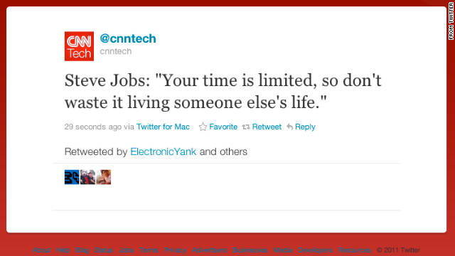 The Internet reacted to Steve Jobs' death in part by posting his own quotes in tribute.