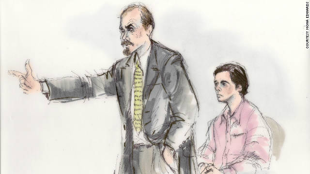 Brandon McInerney is pictured in this courtroom sketch from his August 25 trial. He's being retried for the 2008 murder of a gay classmate.