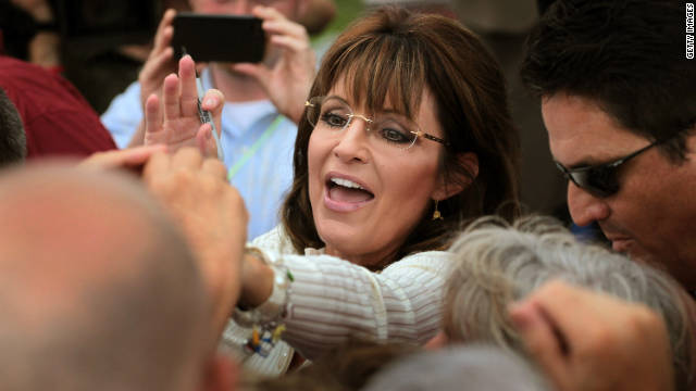 Sarah Palin greets supporters after a speech last month at a Tea Party of America event in Indianola, Iowa.