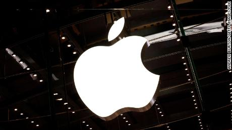 The Apple logo is seen hanging inside the Apple store on West 66th Street on October 5, 2011 in New York City.