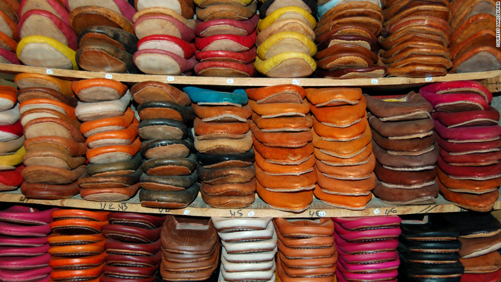 Marc Burba snapped a shot of shoes for sale in a leather shop. Leather tanneries are a common sight throughout Morocco.