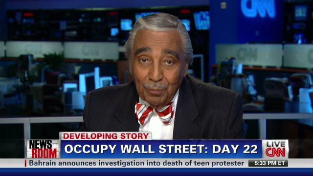 Rangel talks to Wall Street protesters