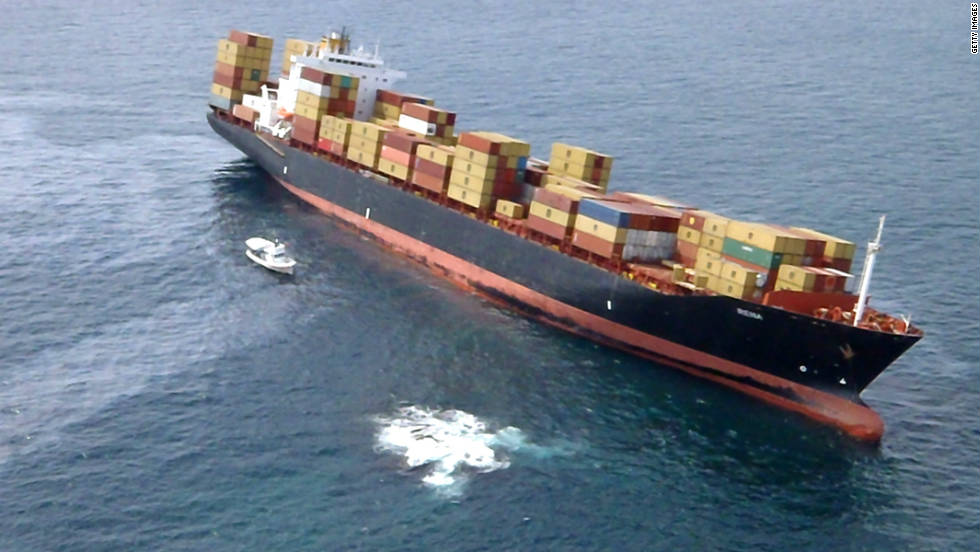 The cargo vessel MV Rena sits stranded on the Astrolabe Reef on October 8 in Tauranga, New Zealand.