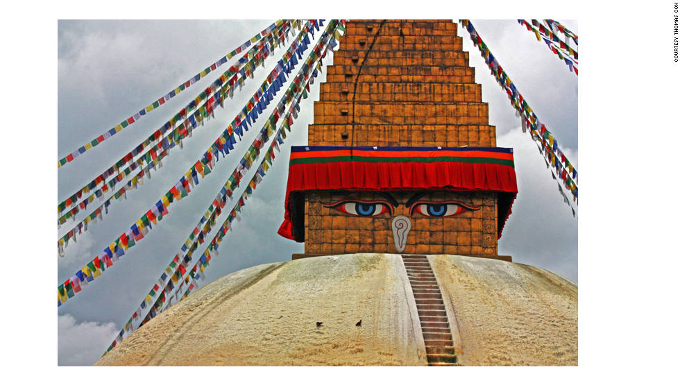 Thomas Cox shared this image of the Buddhist stupa of Boudhanath, a holy structure with eyes that watch over Kathmandu. In Buddhist culture, stupas are circular structures with a mound-shaped area in the center that typically contains holy relics. They are often constructed in a circular mandala design that is visible when viewed from above. The stupa is constructed to symbolize enlightenment, a central spiritual concept in Buddhism. Cox says he chose to visit Kathmandu because it conjured up so many images in his mind, and was mentioned by so many people as a faraway place, just like Timbuktu, Mali.